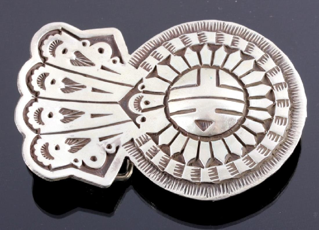 Signed Navajo Sunface Bolo Tie and Belt Buckle - 2