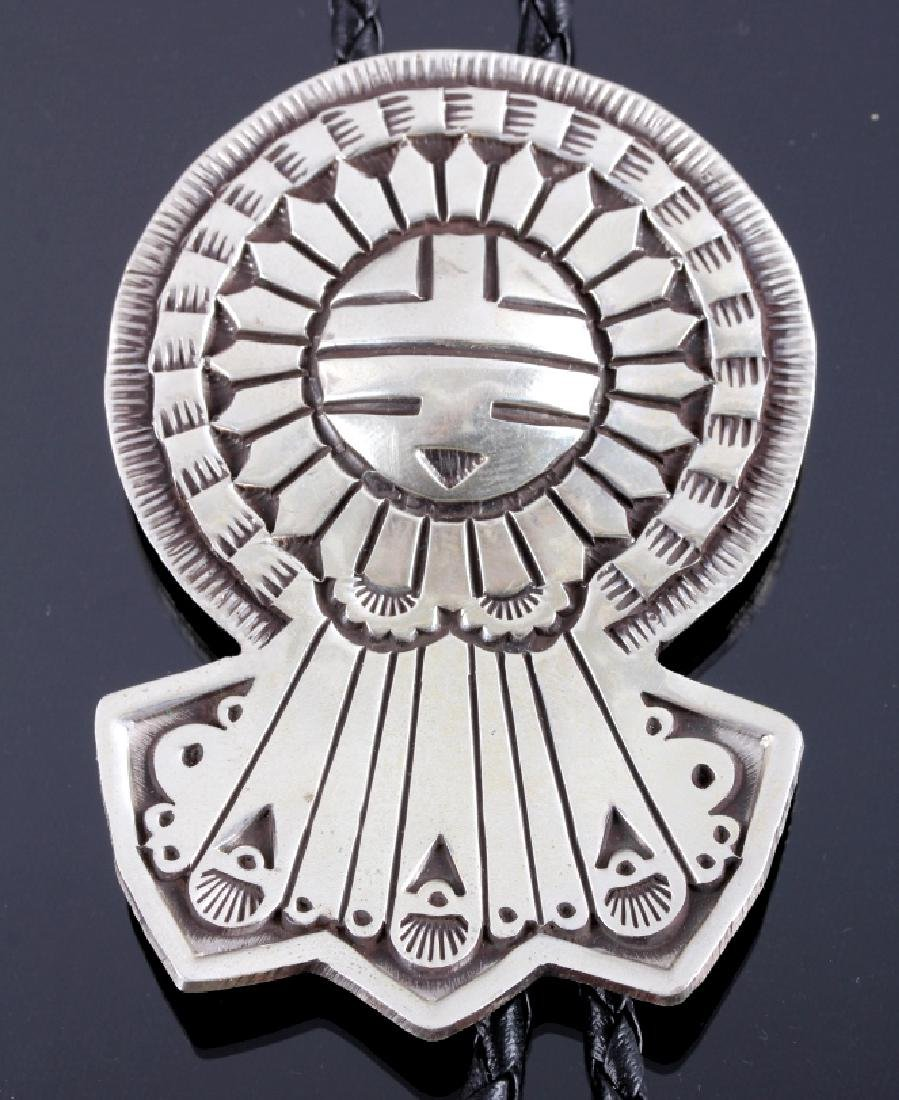 Signed Navajo Sunface Bolo Tie and Belt Buckle - 8