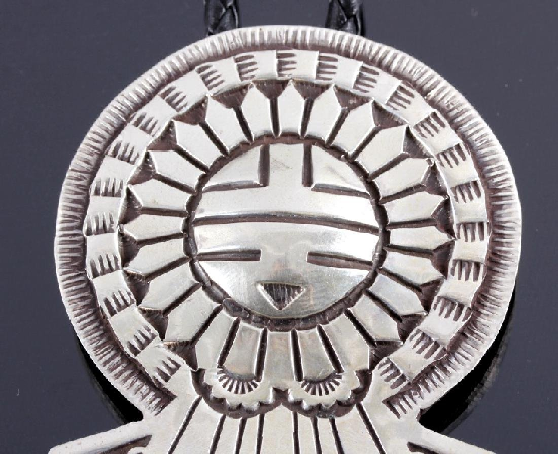 Signed Navajo Sunface Bolo Tie and Belt Buckle - 9