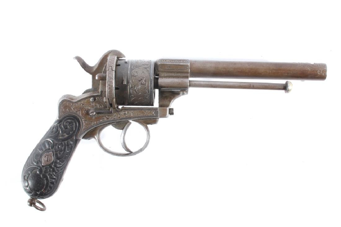 Engraved Lefaucheux 12mm Pinfire DA Revolver