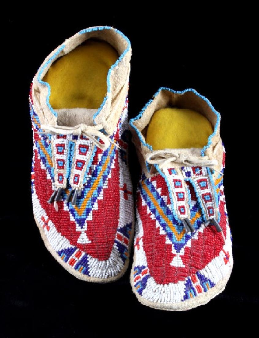 Lakota Sioux Indian Fully Beaded Moccasins c. 1890