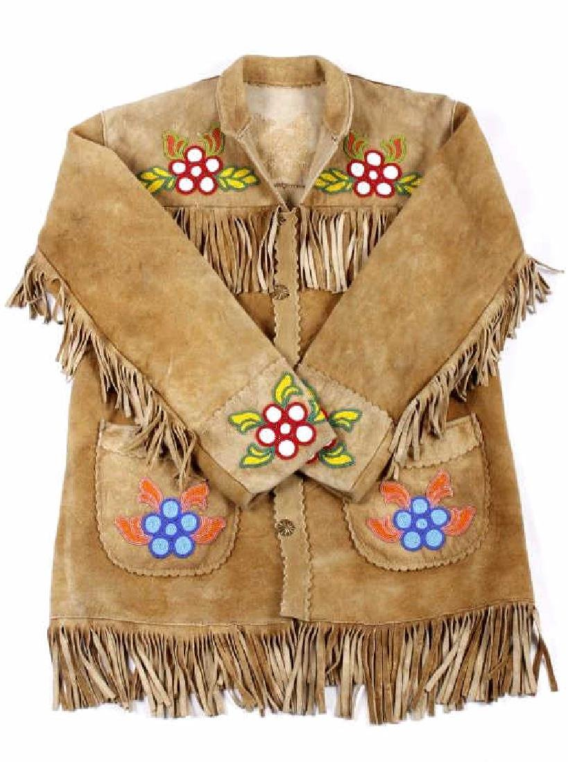 Cree Native American Floral Beaded Leather Jacket