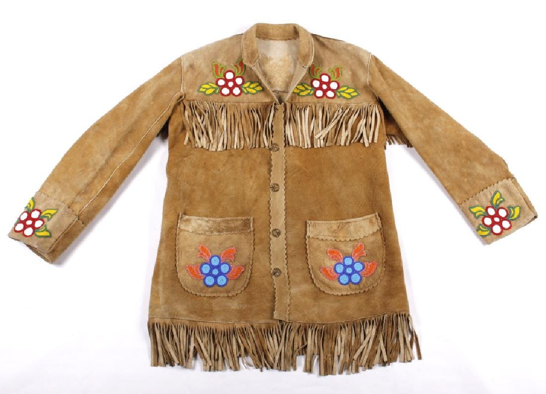 Cree Native American Floral Beaded Leather Jacket - 2
