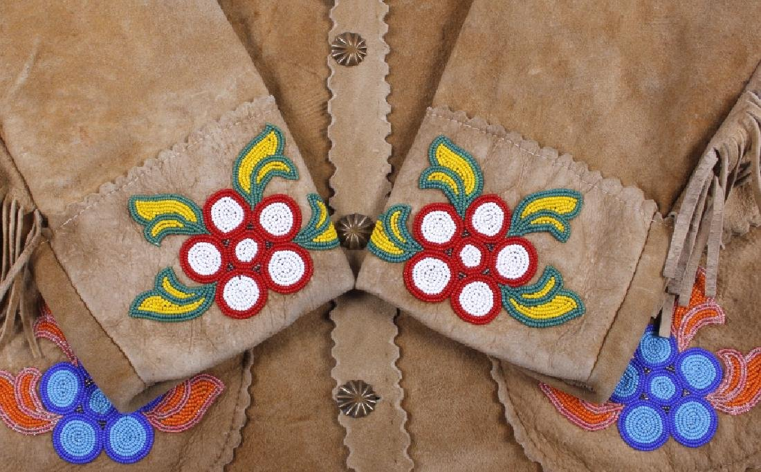 Cree Native American Floral Beaded Leather Jacket - 4