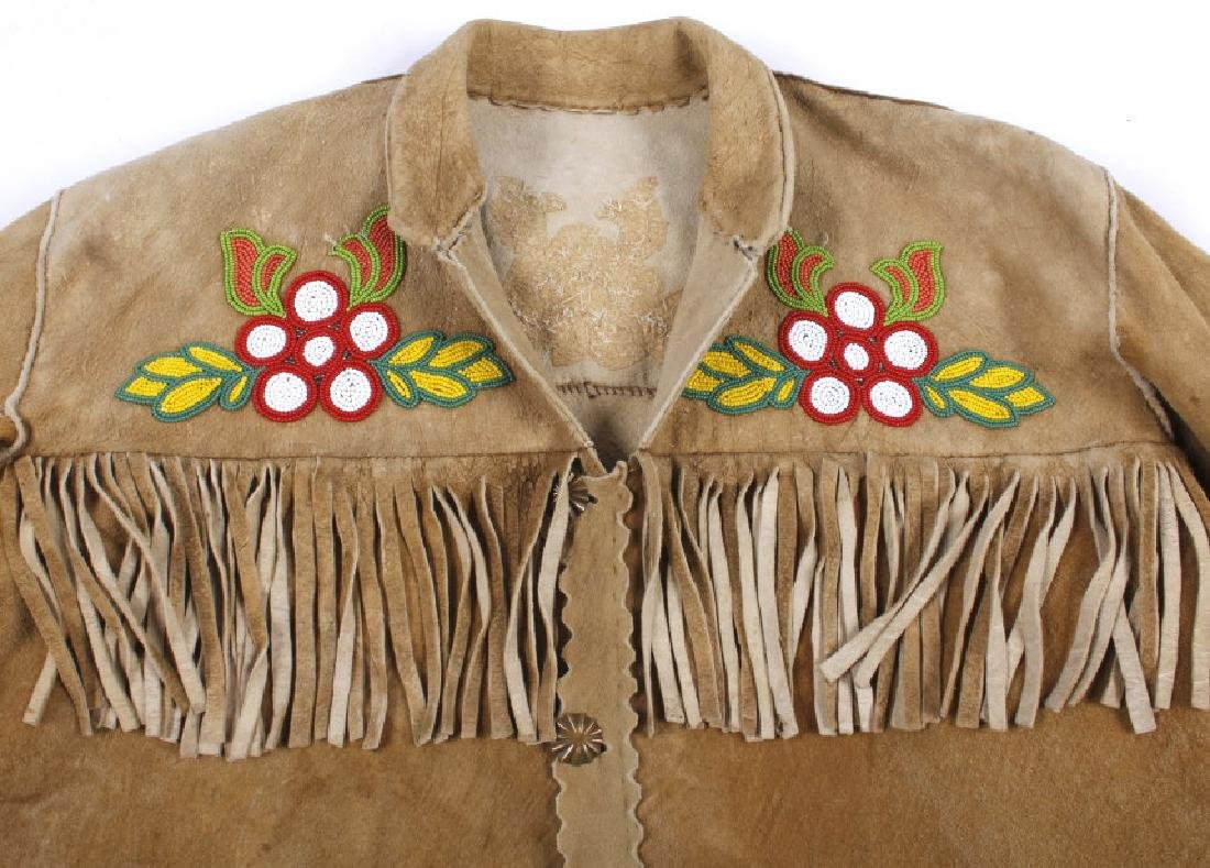 Cree Native American Floral Beaded Leather Jacket - 5