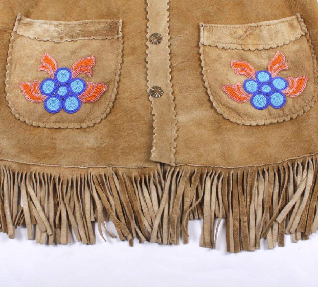 Cree Native American Floral Beaded Leather Jacket - 7
