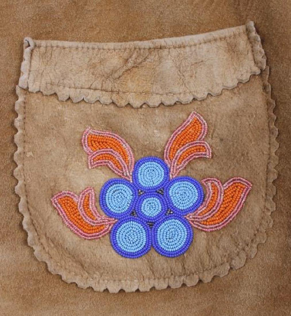 Cree Native American Floral Beaded Leather Jacket - 8