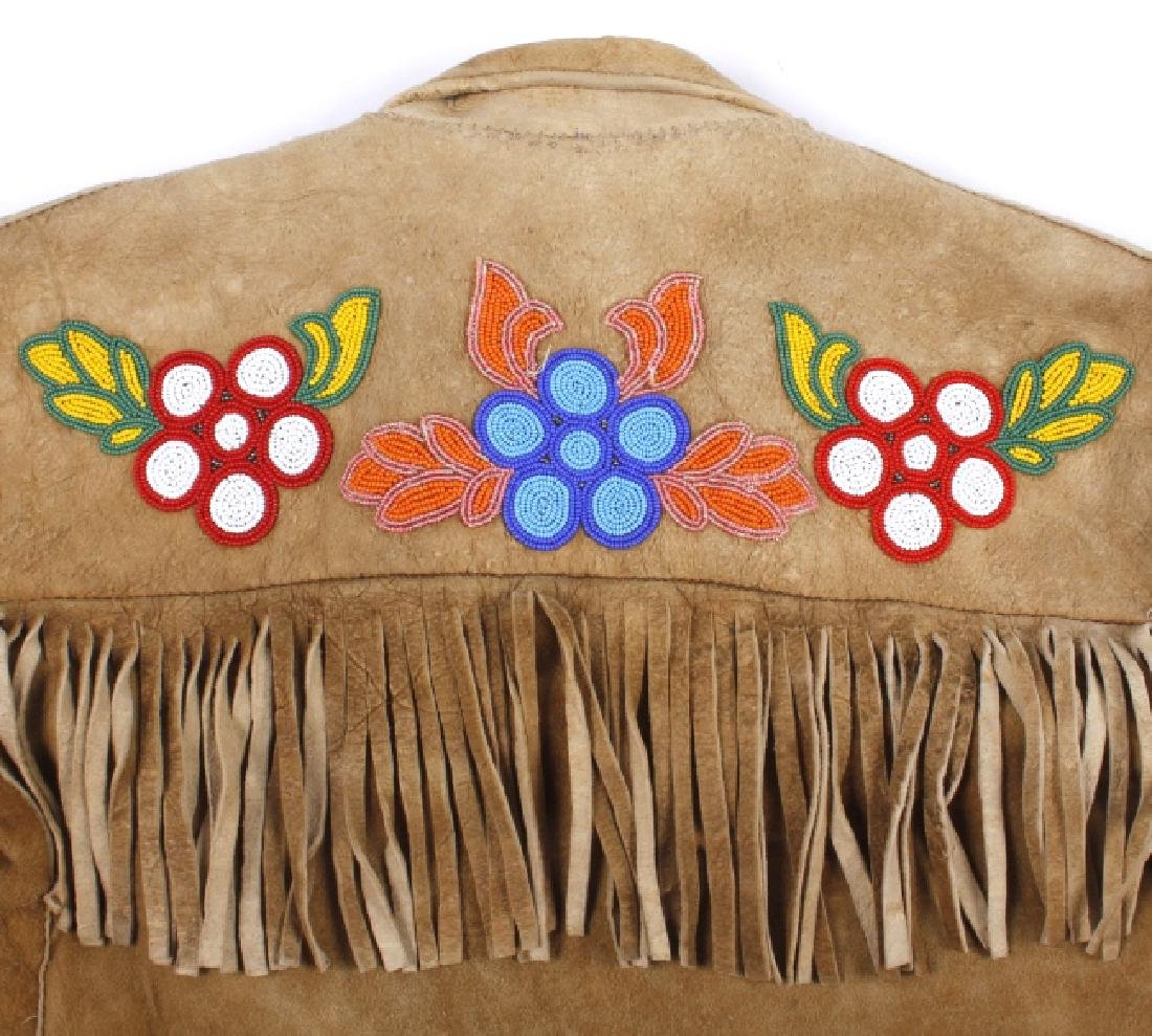 Cree Native American Floral Beaded Leather Jacket - 9