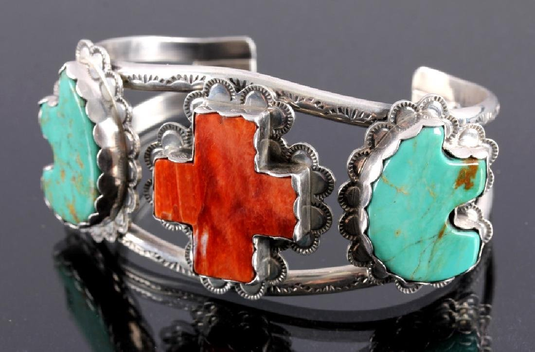 Navajo Sterling Silver Turquoise Coral Cuff - 2