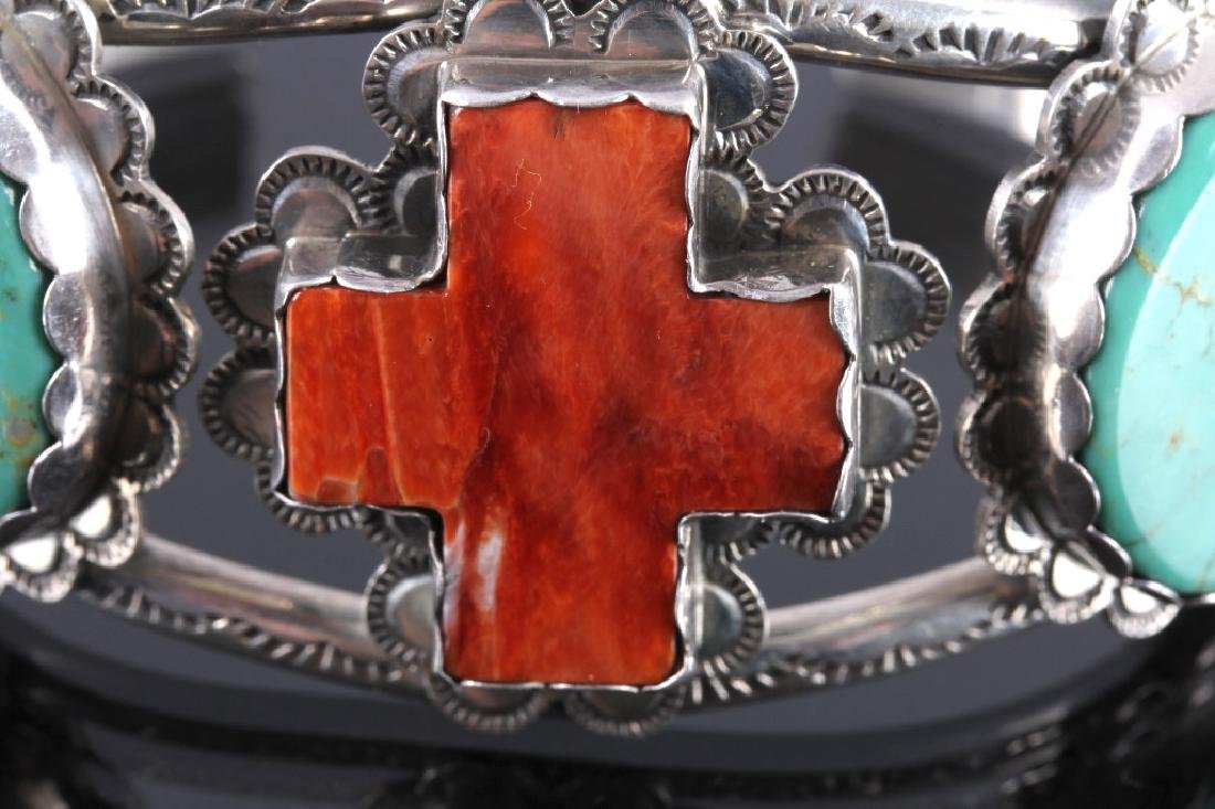 Navajo Sterling Silver Turquoise Coral Cuff - 3