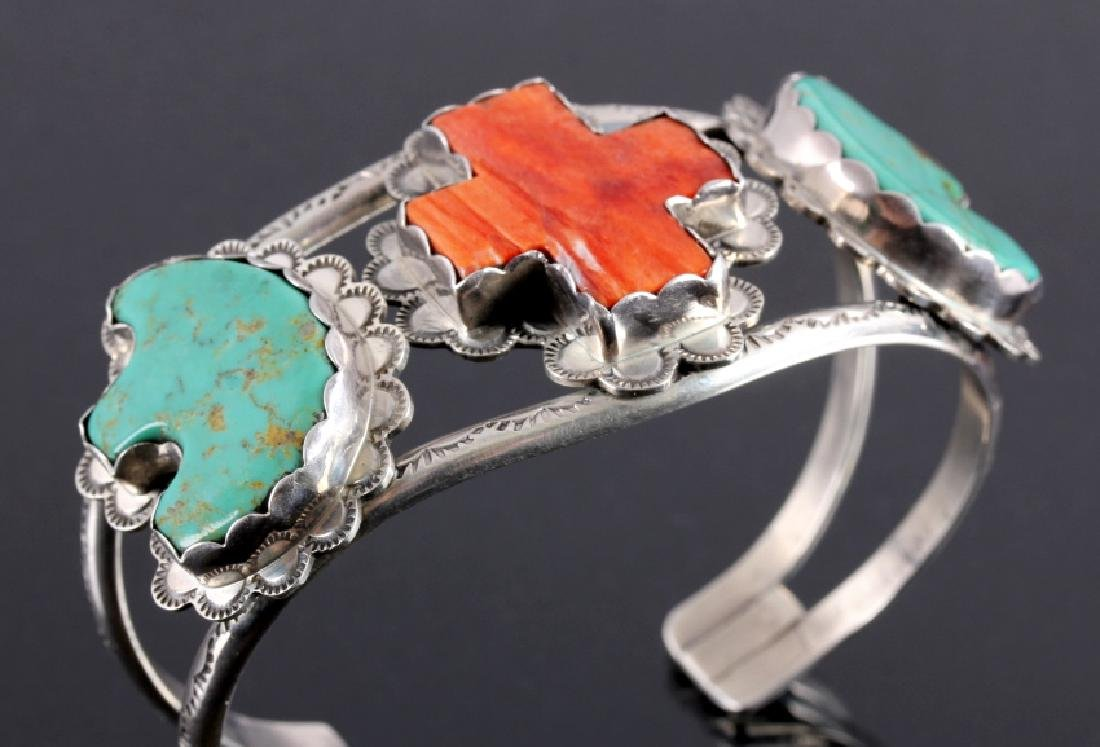 Navajo Sterling Silver Turquoise Coral Cuff - 8