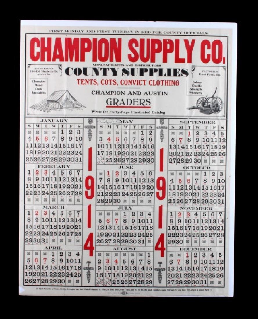 1914 Champion Supply Company Calendar