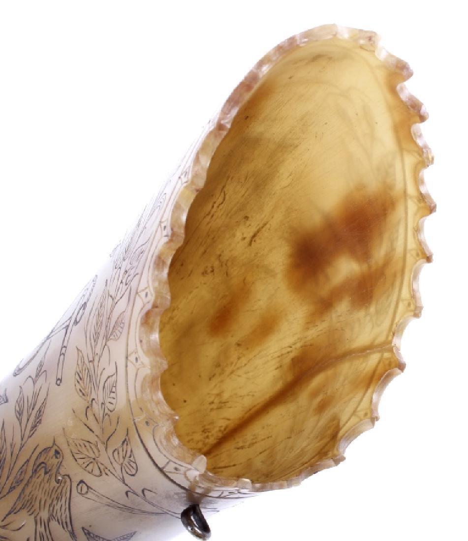 Exceptional Scrimshaw Steer Horn - 2