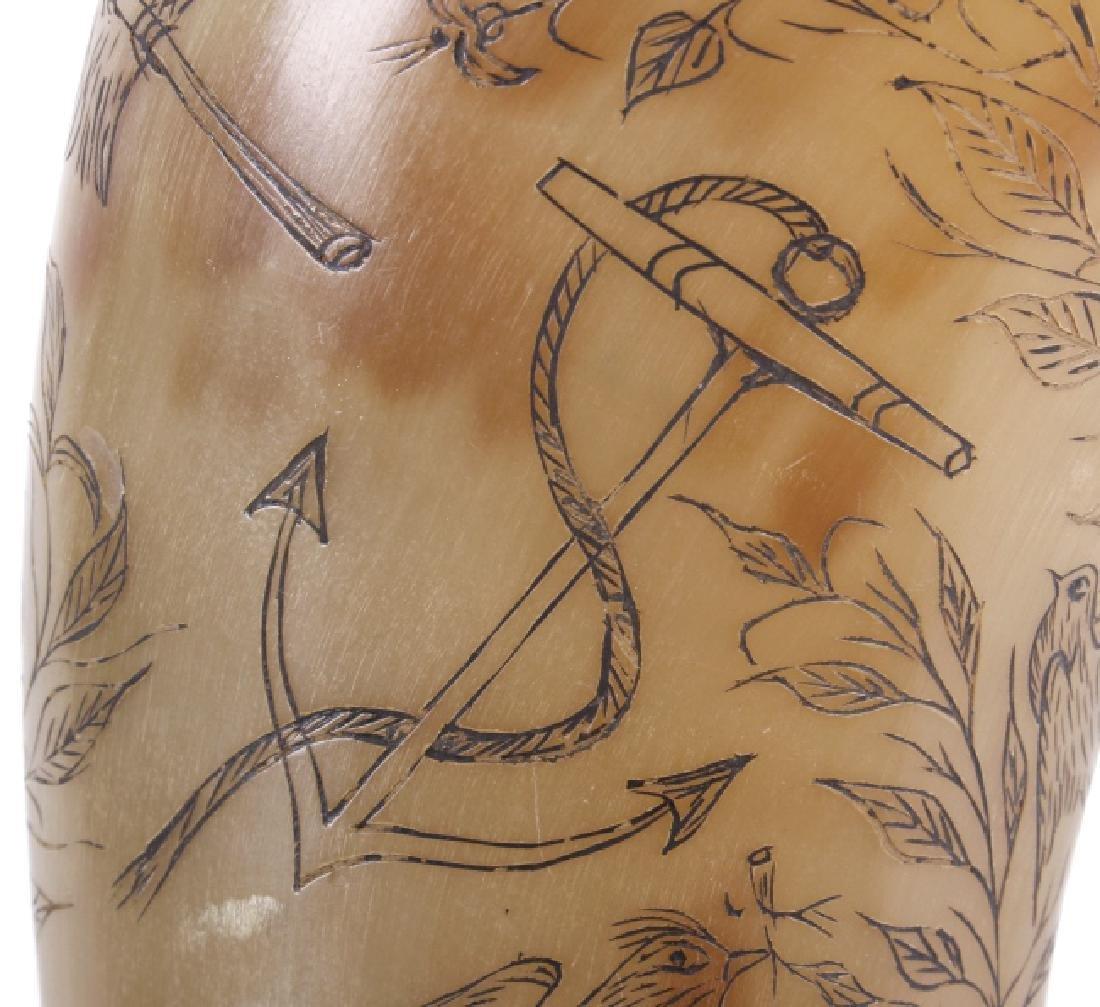Exceptional Scrimshaw Steer Horn - 6