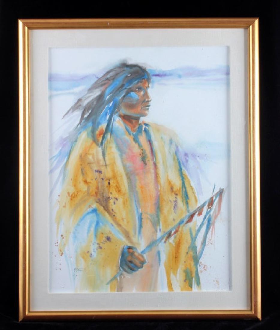 Original Native American Indian Watercolor