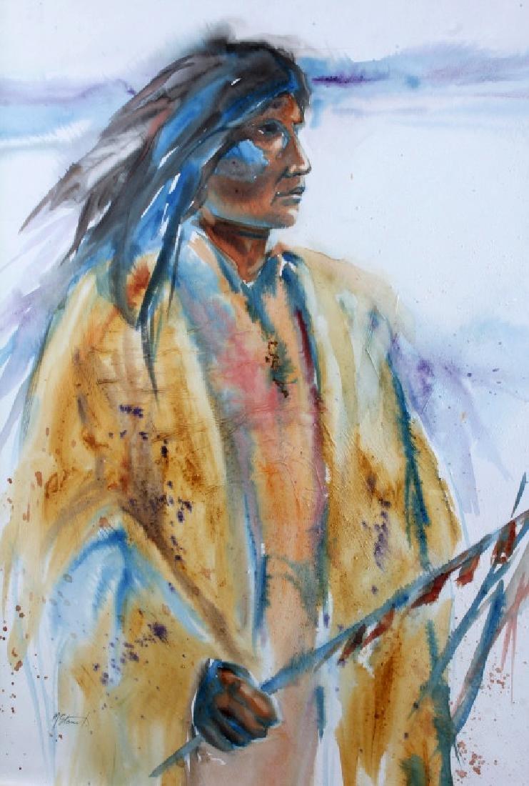 Original Native American Indian Watercolor - 2