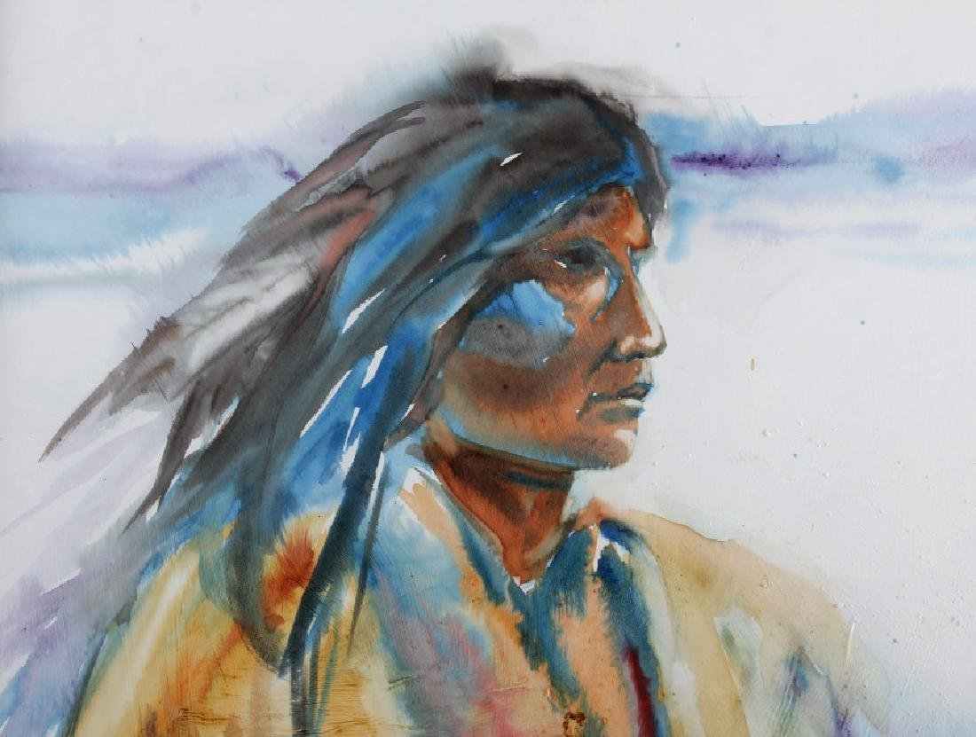 Original Native American Indian Watercolor - 3