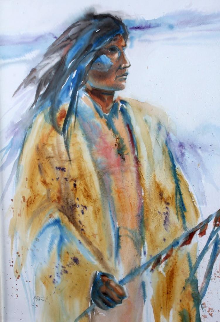 Original Native American Indian Watercolor - 8