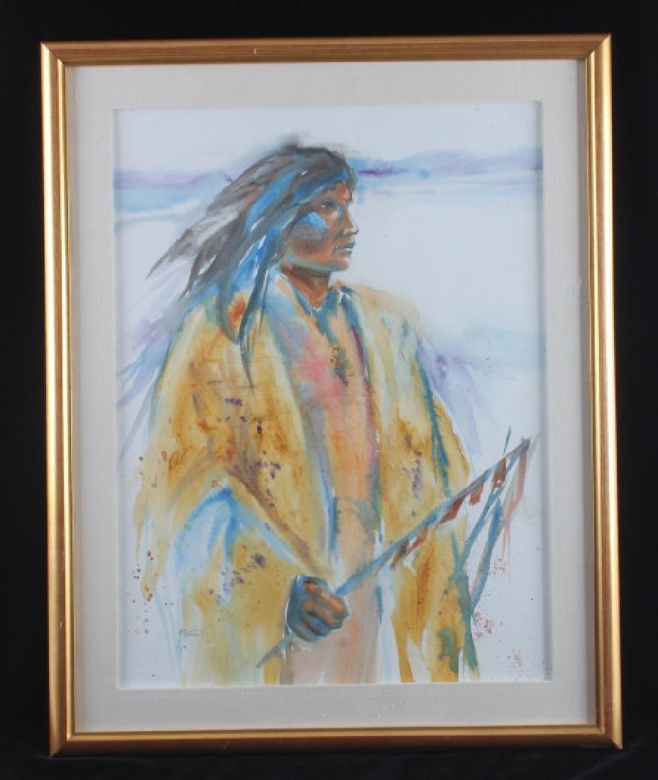 Original Native American Indian Watercolor - 9