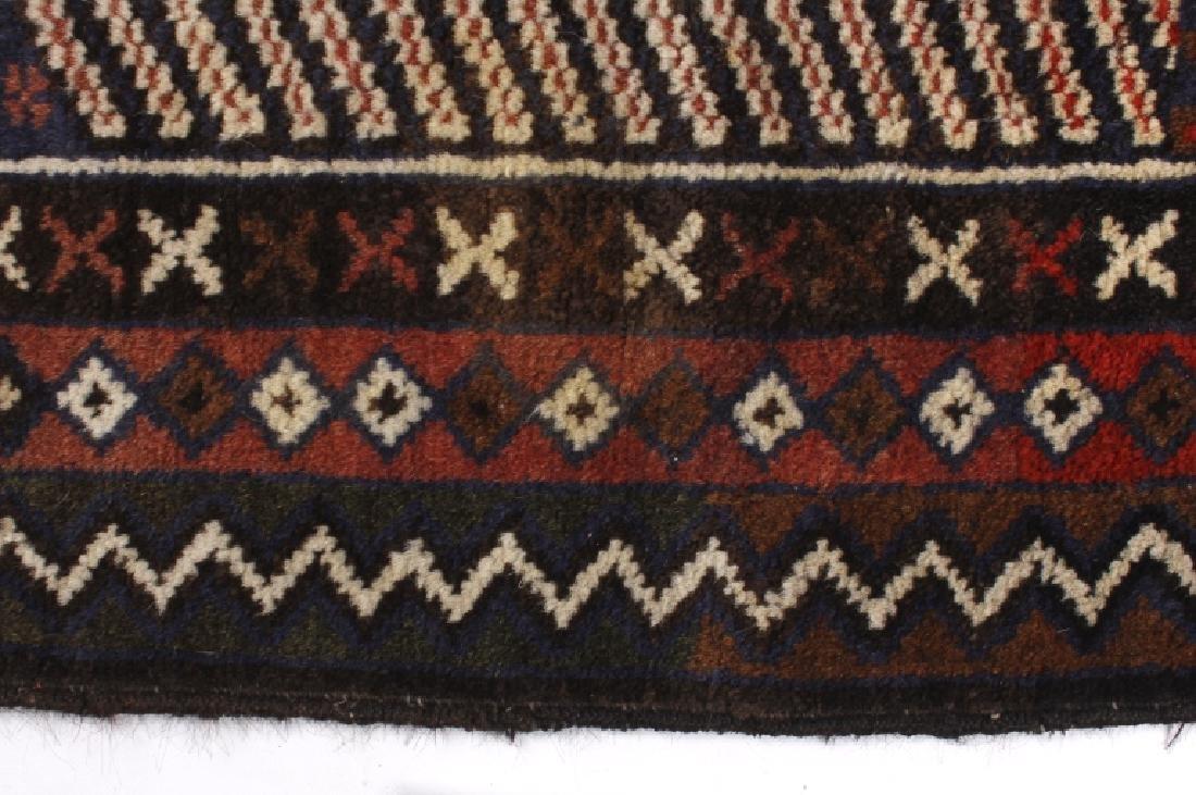 Pakistani Baluchi Hand-Knotted Runner Wool Rug - 2
