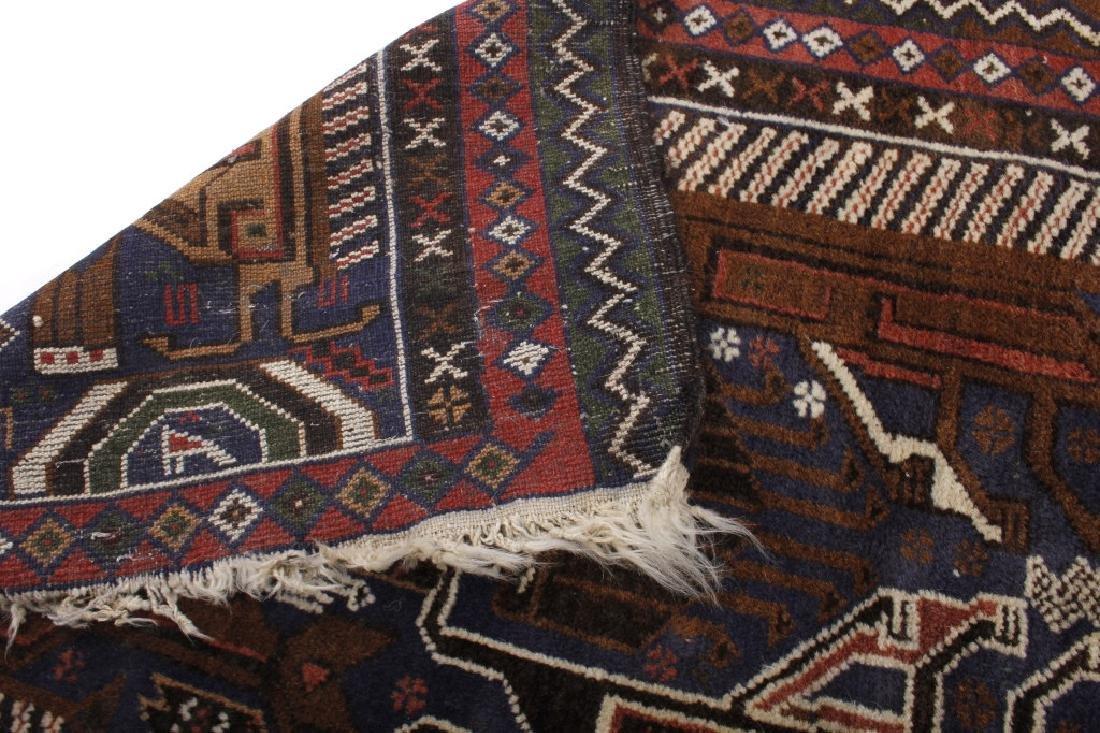 Pakistani Baluchi Hand-Knotted Runner Wool Rug - 4