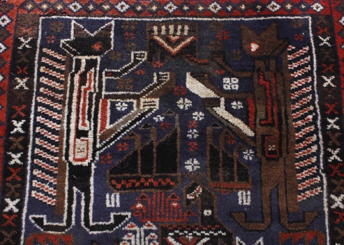 Pakistani Baluchi Hand-Knotted Runner Wool Rug - 7