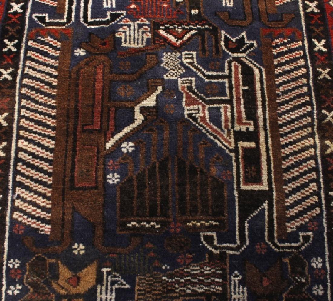 Pakistani Baluchi Hand-Knotted Runner Wool Rug - 8