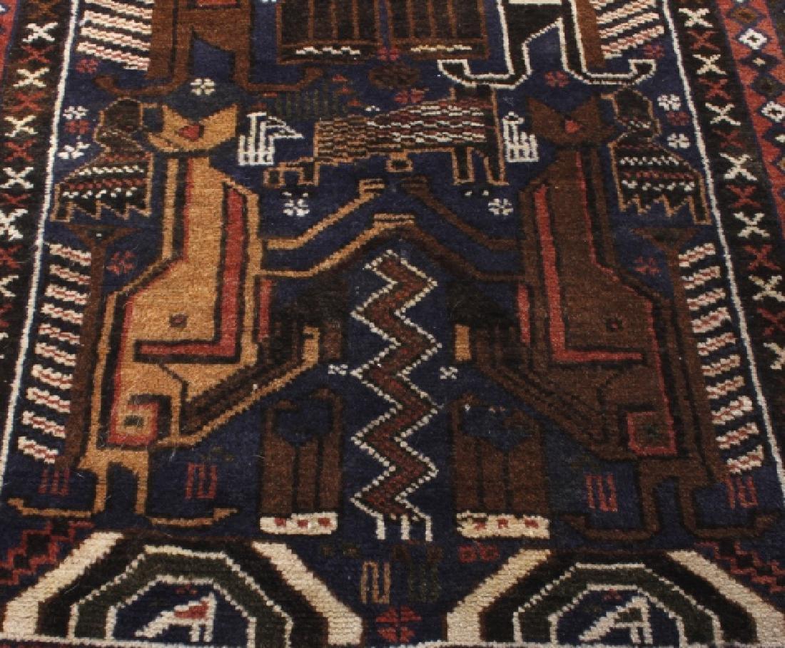 Pakistani Baluchi Hand-Knotted Runner Wool Rug - 9