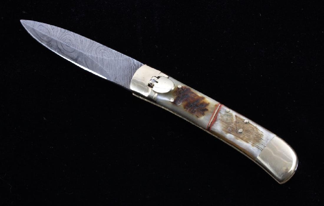 German Damascus Lever Lock Switchblade Knife