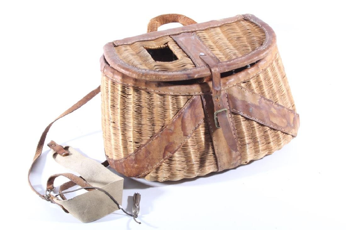 Early Leather & Wicker Fly Fishing Creel