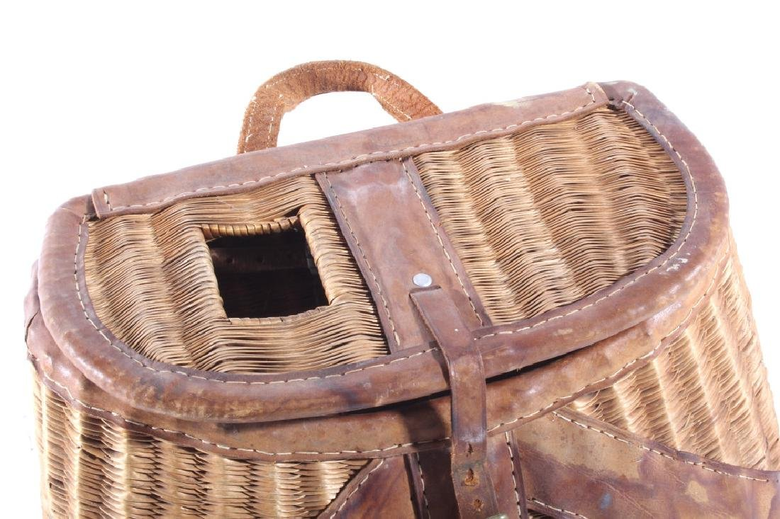 Early Leather & Wicker Fly Fishing Creel - 3
