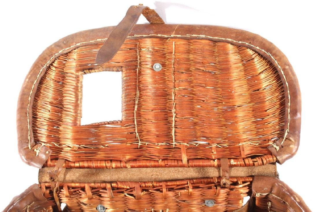 Early Leather & Wicker Fly Fishing Creel - 6