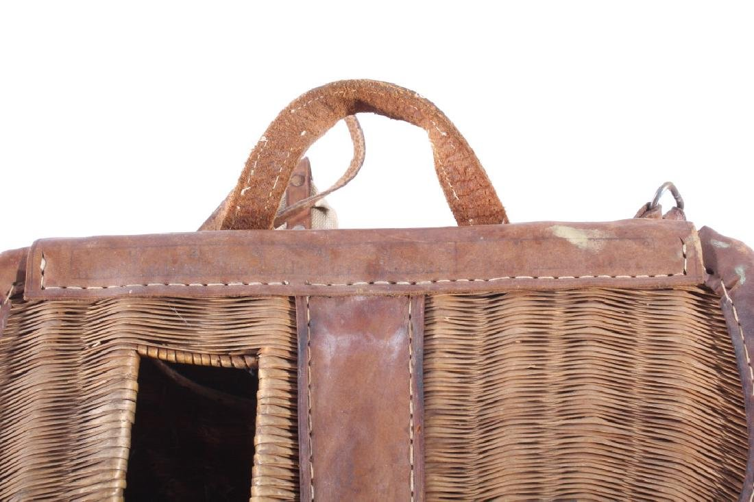 Early Leather & Wicker Fly Fishing Creel - 7