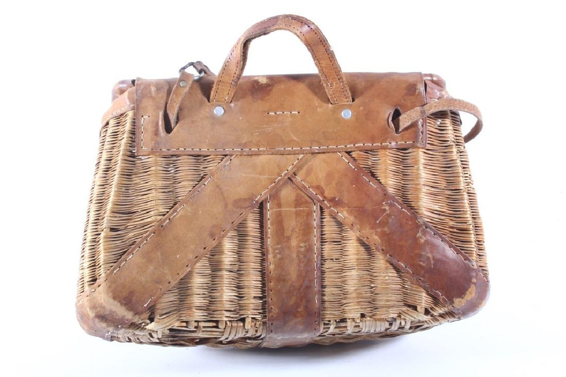 Early Leather & Wicker Fly Fishing Creel - 8