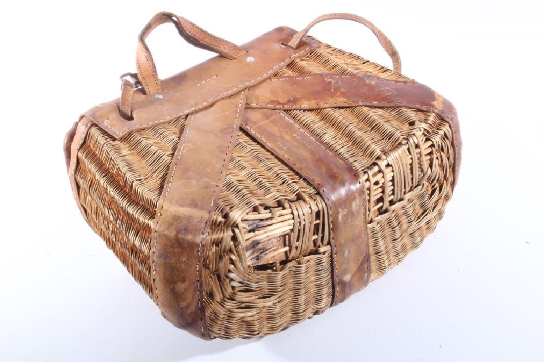 Early Leather & Wicker Fly Fishing Creel - 9