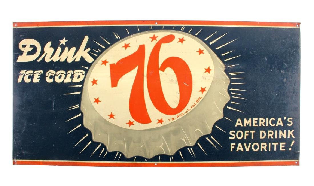 Drink Ice Cold 76 Tin Advertising Sign