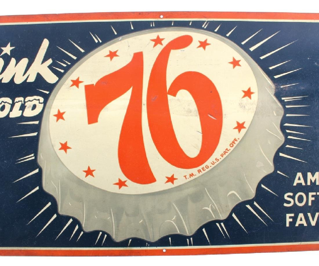 Drink Ice Cold 76 Tin Advertising Sign - 2