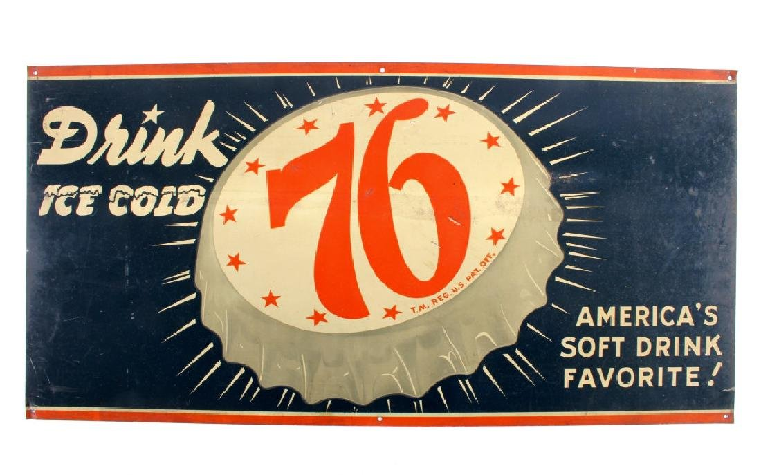 Drink Ice Cold 76 Tin Advertising Sign - 8