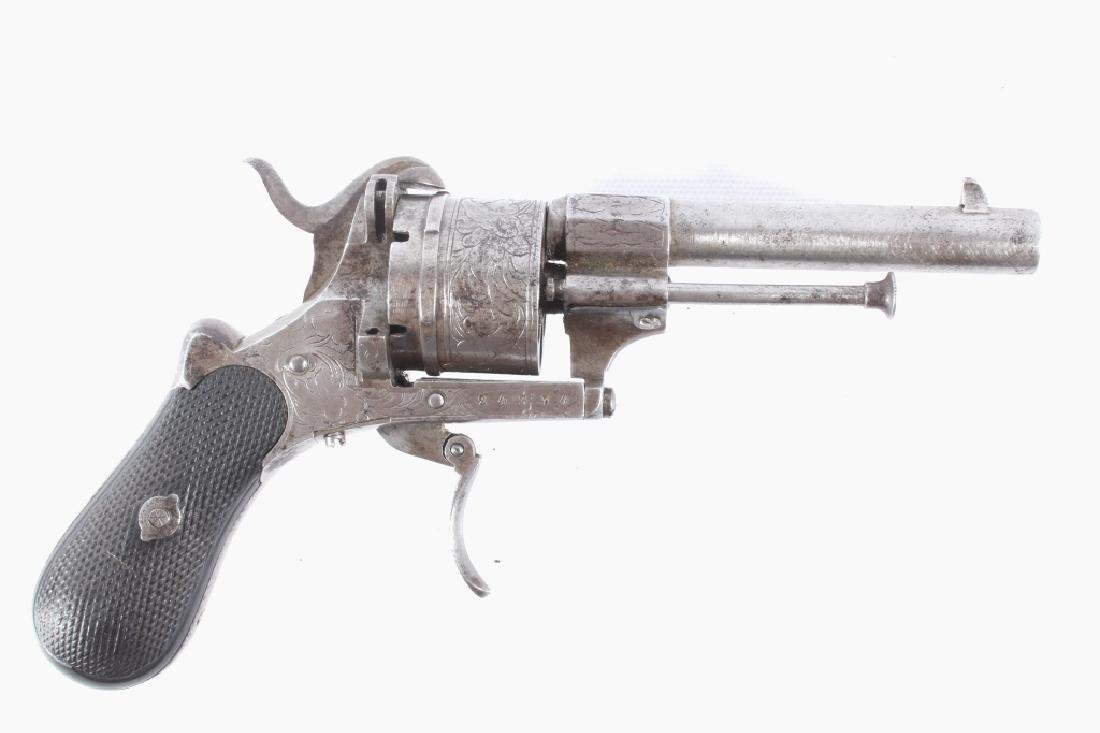 Engraved Belgium Proofed .38 Cal Pinfire Revolver