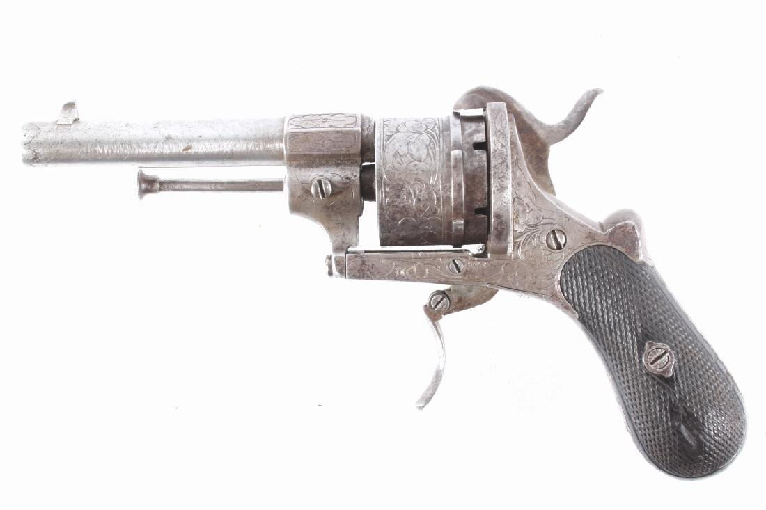 Engraved Belgium Proofed .38 Cal Pinfire Revolver - 6