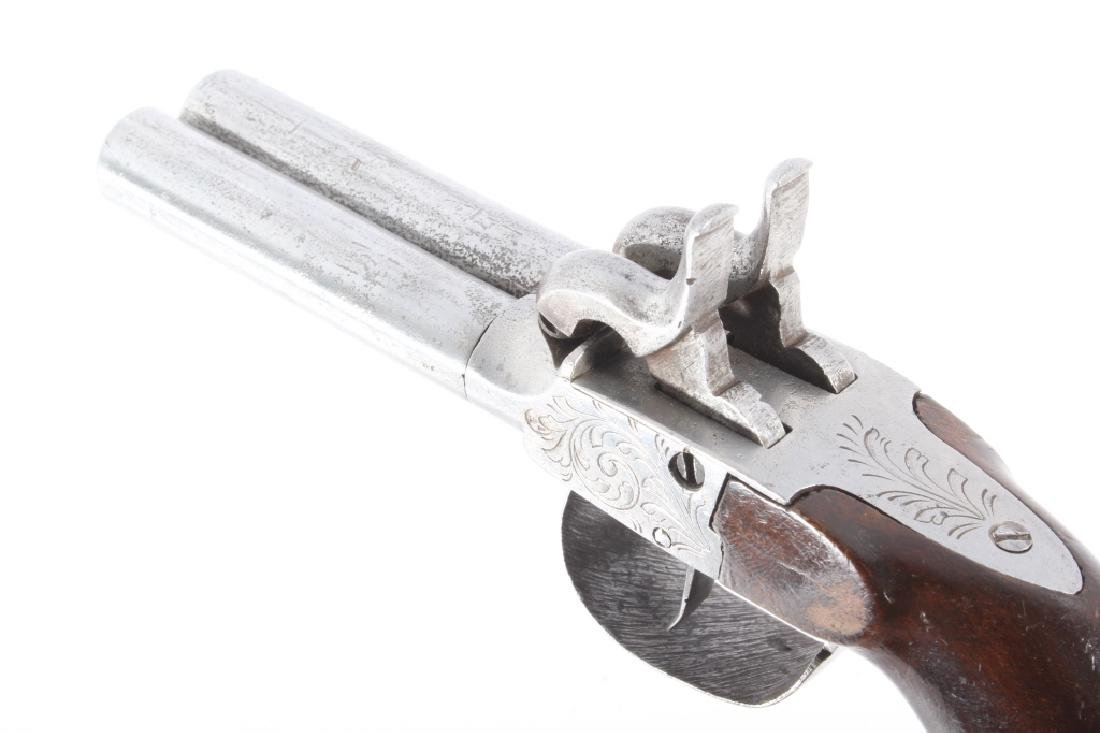 Engraved Double Barrel .40 Cal Percussion Pistol - 10