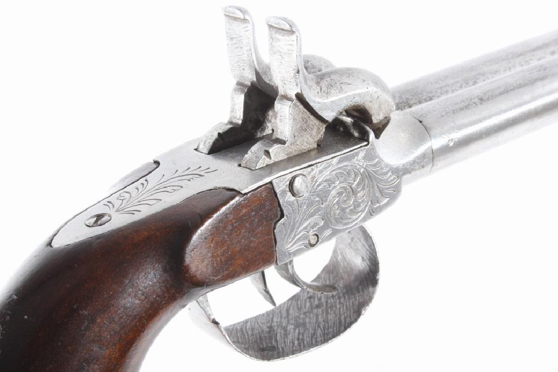 Engraved Double Barrel .40 Cal Percussion Pistol - 11
