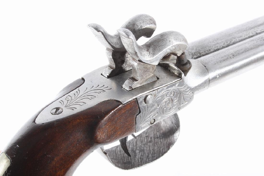 Engraved Double Barrel .40 Cal Percussion Pistol - 12