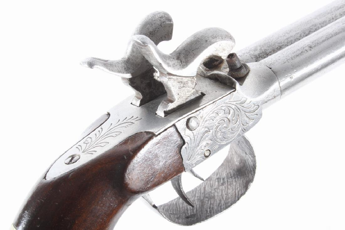 Engraved Double Barrel .40 Cal Percussion Pistol - 13