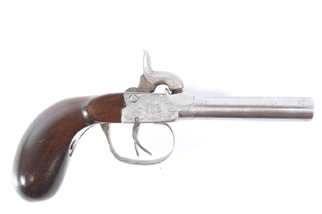 Engraved Double Barrel .40 Cal Percussion Pistol