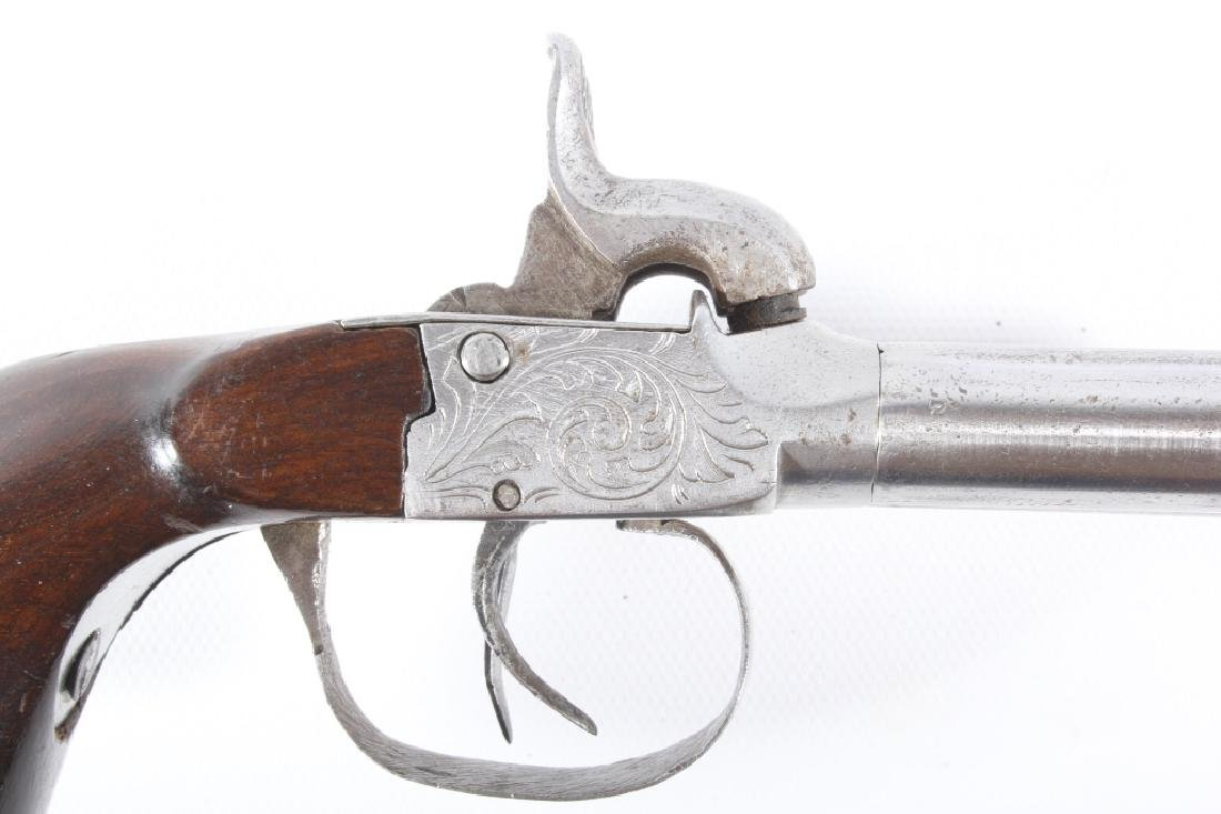Engraved Double Barrel .40 Cal Percussion Pistol - 3