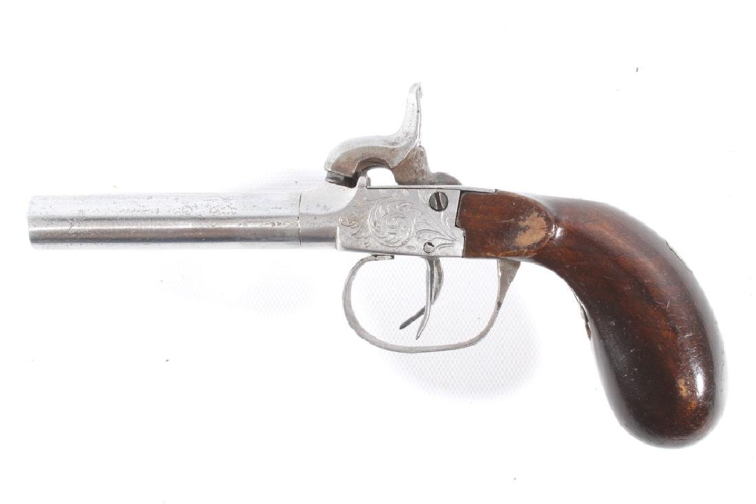 Engraved Double Barrel .40 Cal Percussion Pistol - 5