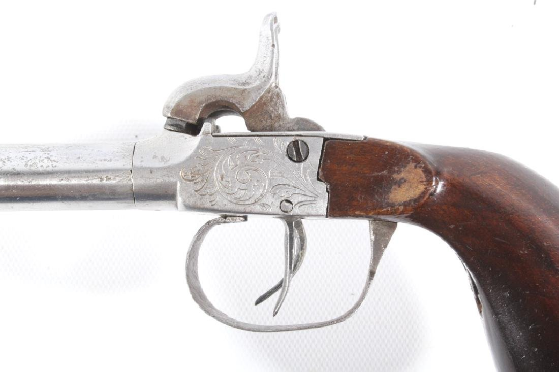 Engraved Double Barrel .40 Cal Percussion Pistol - 7