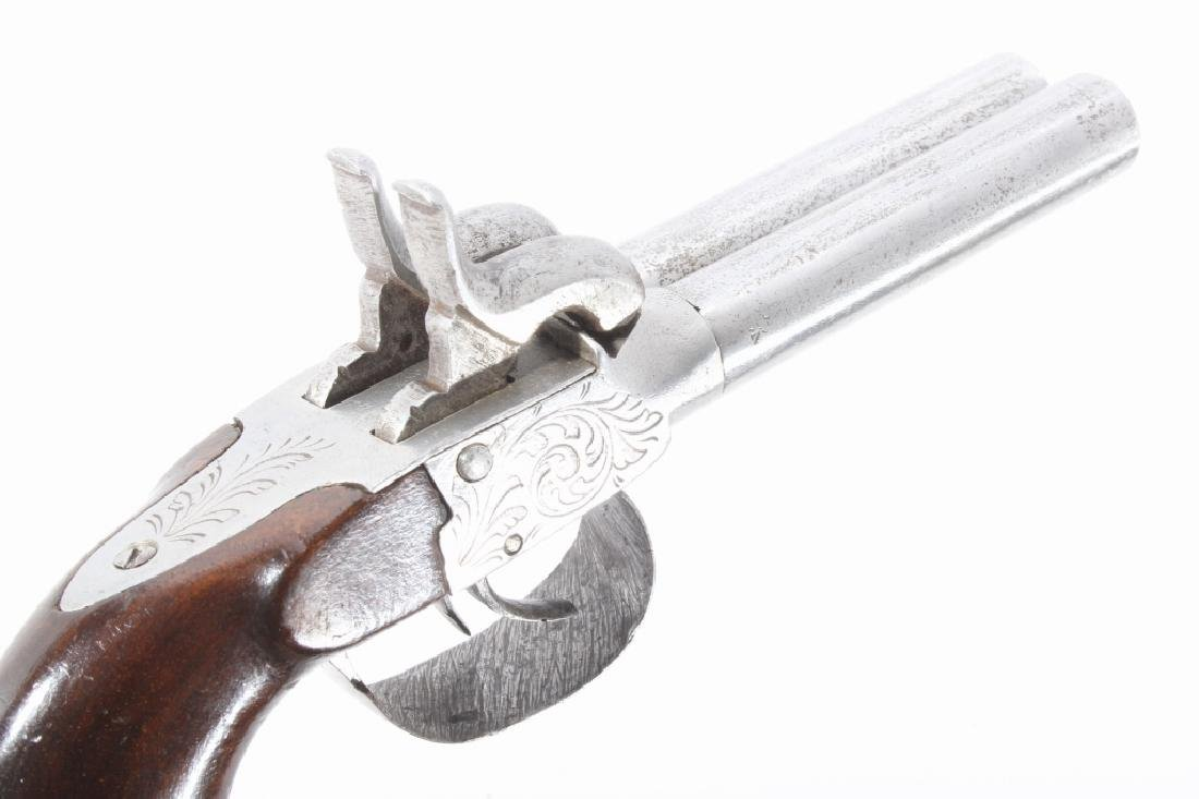 Engraved Double Barrel .40 Cal Percussion Pistol - 9