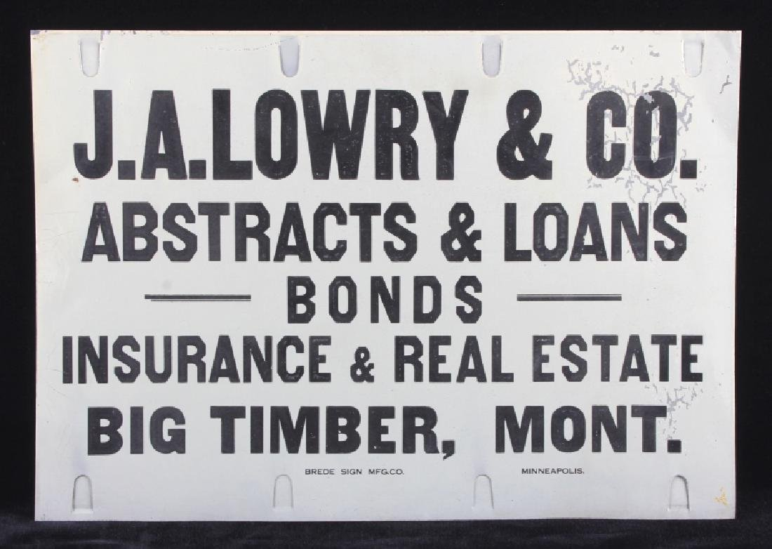 J.A. Lowry Sign from Big Timber Montana